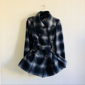 Miss Sixty M60 Blue and White Plaid Peacoat